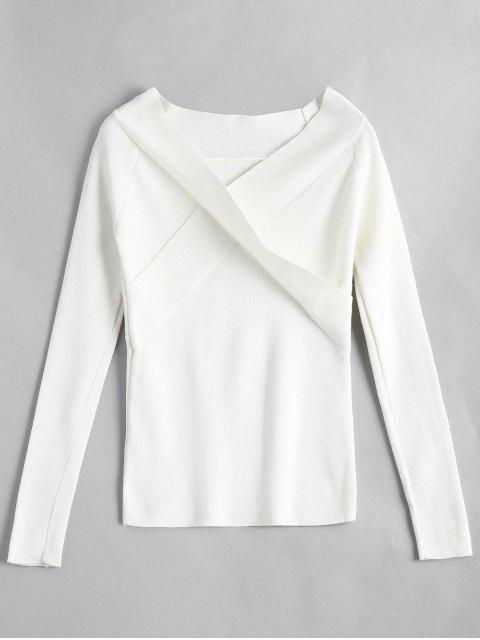 women's Crossed Front Off Shoulder Knitwear - WHITE ONE SIZE Mobile