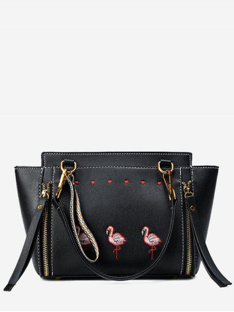 outfit Zippers Faux Leather Embroidery Tote Bag - BLACK  Mobile