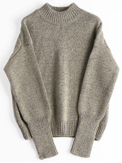 outfits Loose Heathered Mock Neck Sweater - GREYISH BROWN ONE SIZE Mobile