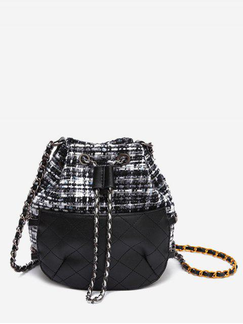 fancy Quilted Gien Check Chain Bucket Bag - BLACK  Mobile