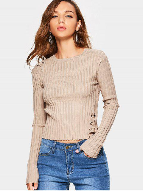 shop Ribbed Lace Up Sweater - KHAKI ONE SIZE Mobile