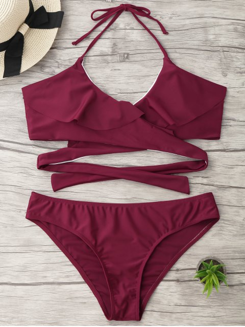 fancy Halter Ruffle Padded Plus Size Wrap Bikini - BURGUNDY XL Mobile