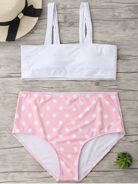 affordable Polka Dot Plus Size High Waisted Bikini - WHITE XL Mobile