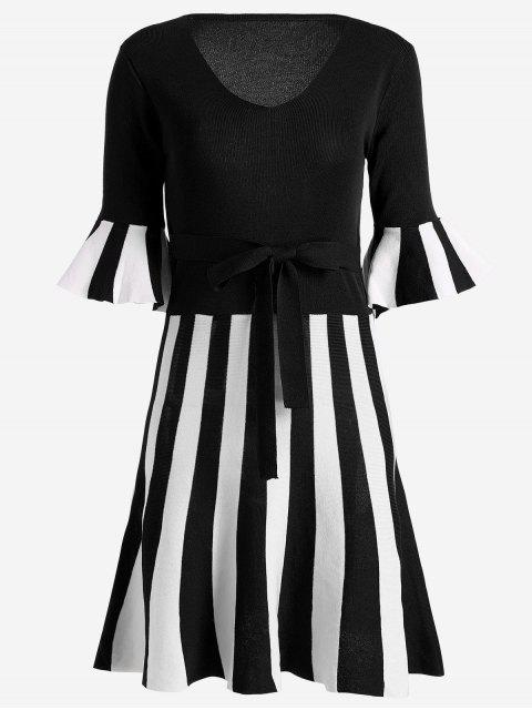 trendy Flare Sleeve Striped Knitted Dress - BLACK ONE SIZE Mobile