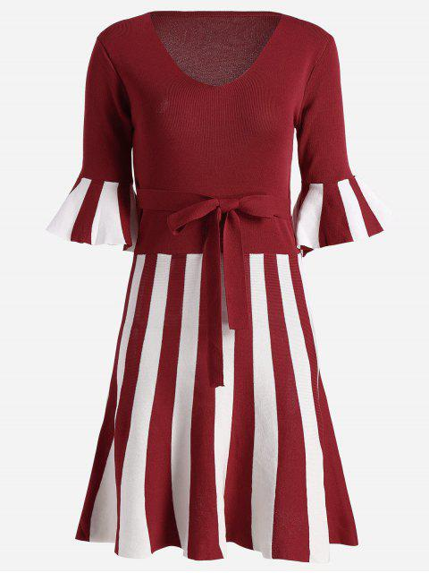 fancy Flare Sleeve Striped Knitted Dress - RED ONE SIZE Mobile