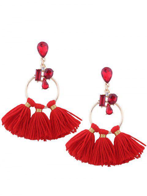 Pendientes de borla de cristal artificial de aro de lágrima - Rojo  Mobile