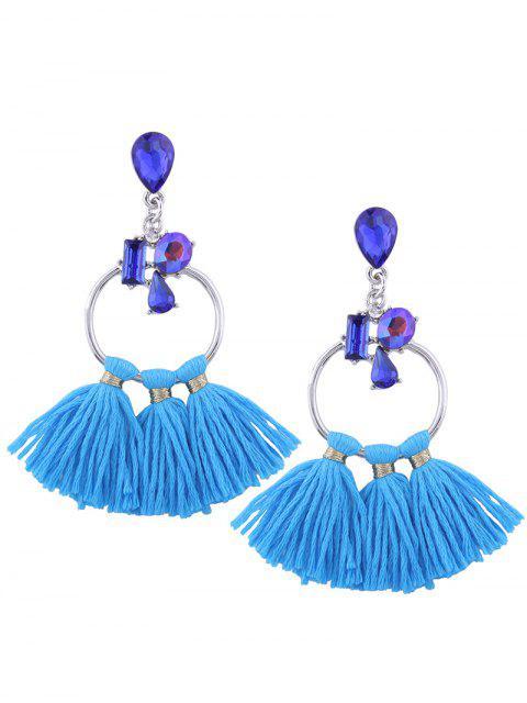 Boucles d'oreilles à perles artificielles à la teardrop Hoop Tassel - Bleu  Mobile