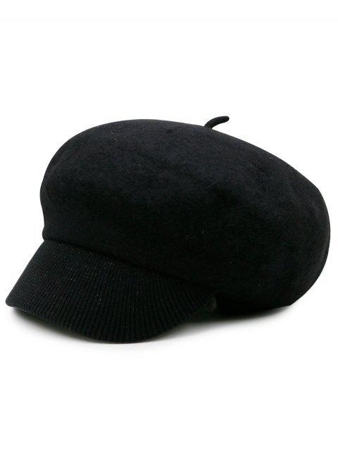 Sombrero de periódico de punto de mezcla de lana - Negro  Mobile