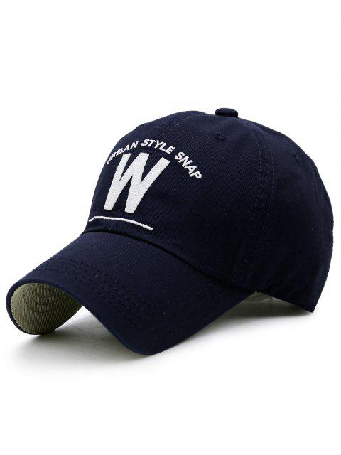 womens W Shape and Embroidery Baseball Hat - CADETBLUE  Mobile