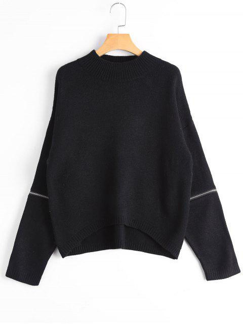 new Zippered Mock Neck Sweater - BLACK ONE SIZE Mobile
