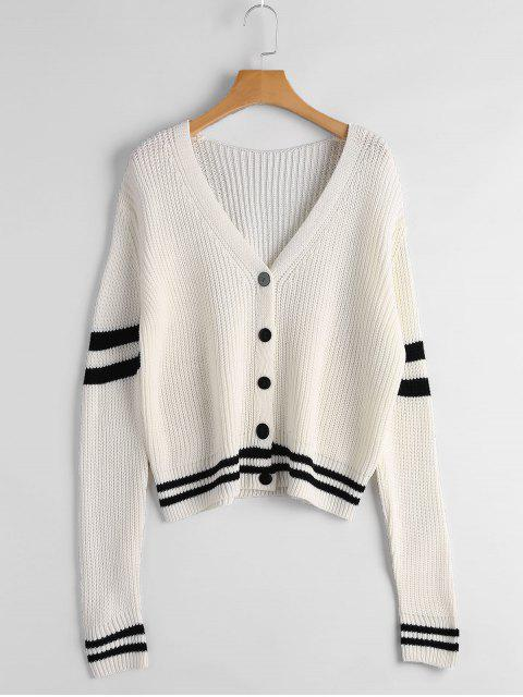 shops Striped Chunky Cardigan - OFF-WHITE ONE SIZE Mobile