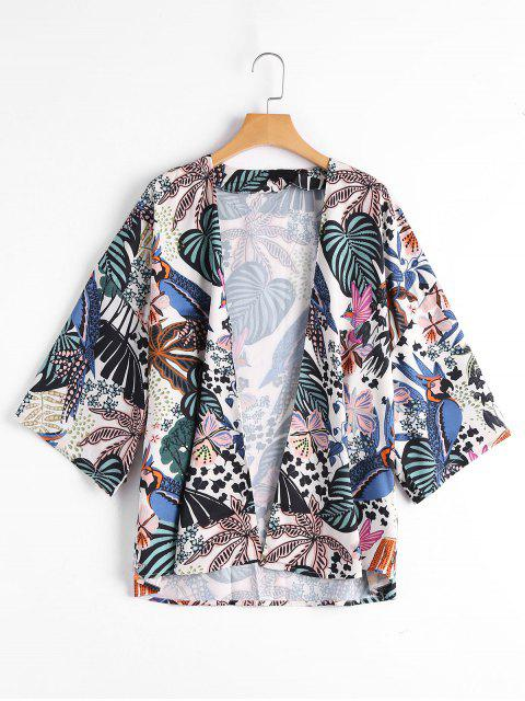 Tropical Leaf Imprimir Kimono Top - Floral S Mobile