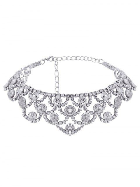 ladies Alloy Sparkly Rhinestone Necklace - SILVER  Mobile