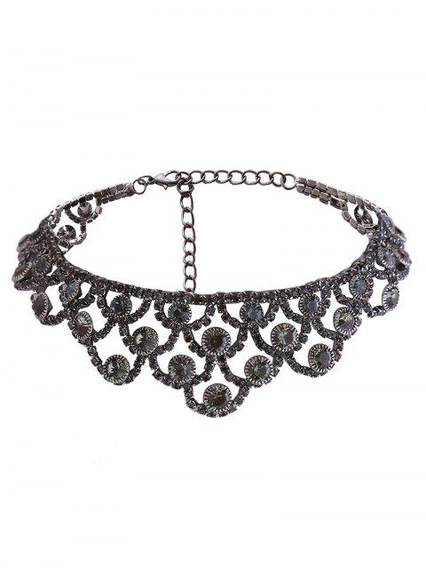lady Alloy Sparkly Rhinestone Necklace - GUN METAL  Mobile