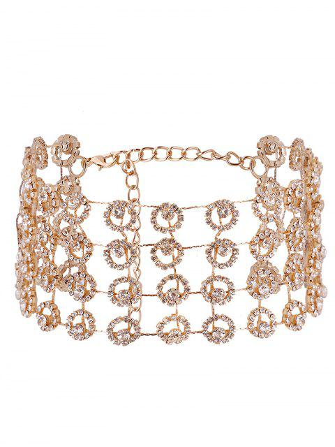 best Alloy Multilayered Rhinestone Sparkly Necklace - GOLDEN  Mobile