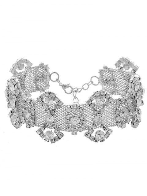Strass-Legierungs-Geometrische Halskette - silber  Mobile