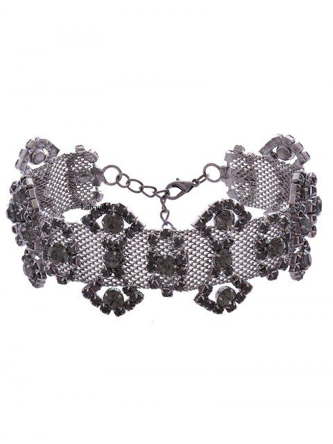 outfit Alloy Rhinestone Geometric Necklace - GUN METAL  Mobile