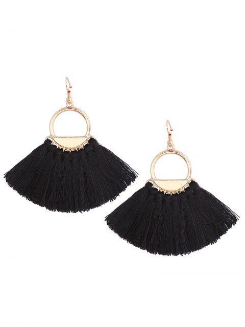 outfits Vintage Tassel Circle Fish Hook Earrings - BLACK  Mobile