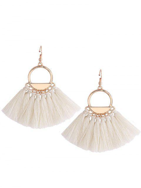 shop Vintage Tassel Circle Fish Hook Earrings - WHITE  Mobile