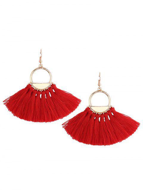 Pendientes de gancho de pez del círculo de la borla de la vendimia - Rojo  Mobile