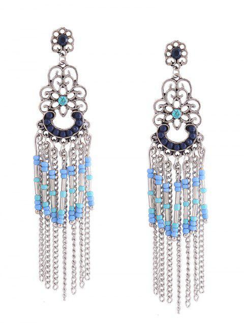 Pendientes florales bohemios de perlas franjadas con cuentas - Azul  Mobile