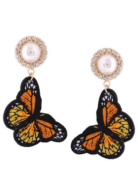 Rhinestone-Faux-Perlen-Schmetterlings-Stickerei-Ohrringe - orange   Mobile