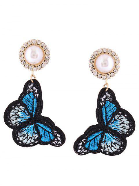 Rhinestone Faux Pearl Butterfly bordado pendientes - Azul  Mobile