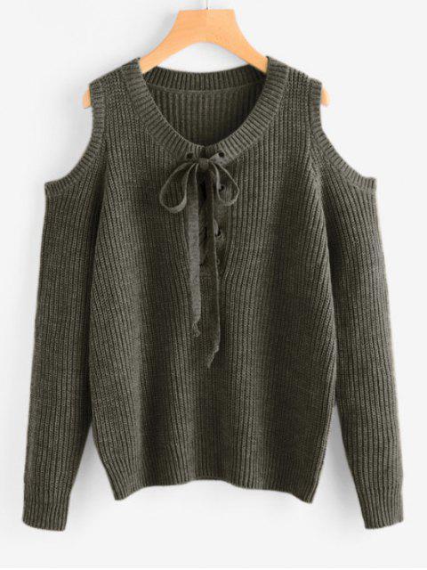 Encaje hasta el hombro frío Chunky suéter - Verde del ejército Única Talla Mobile