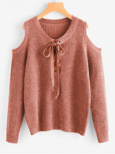 trendy Lace Up Cold Shoulder Chunky Sweater - COFFEE ONE SIZE Mobile