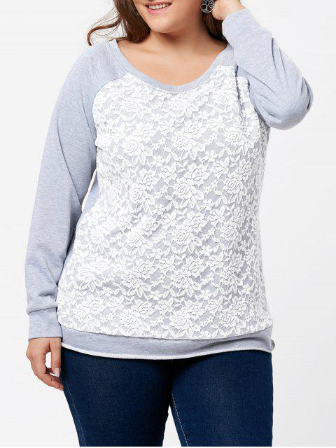 fashion Plus Size Lace Panel Raglan Sleeve Pullover Sweatshirt - GRAY 2XL Mobile