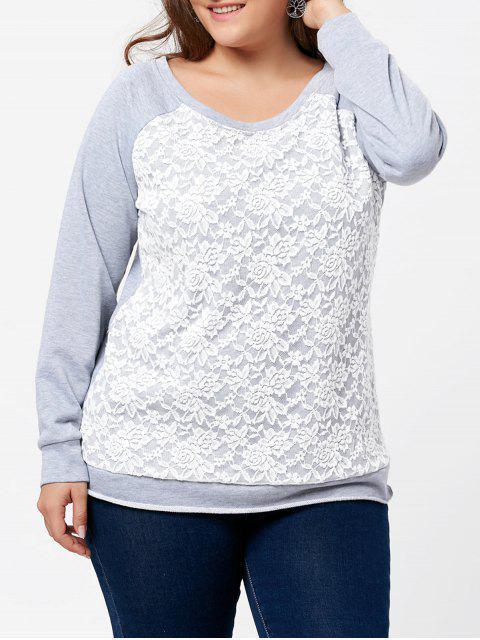 Übergröße Pullover Sweatshirt mit Raglan Ärmel und Spitzedetail - Grau 4XL Mobile