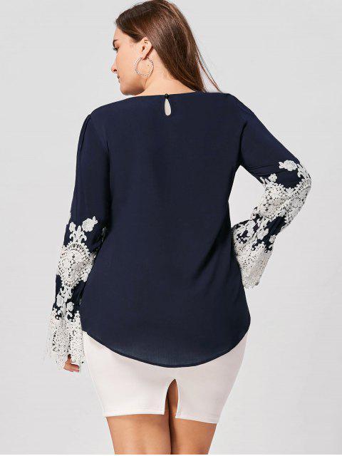 outfit Plus Size Lace Trim High Low Blouse - BLACK BLUE 5XL Mobile