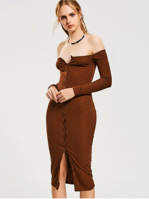 new Button Up Off Shoulder Bodycon Dress - LIGHT COFFEE S Mobile