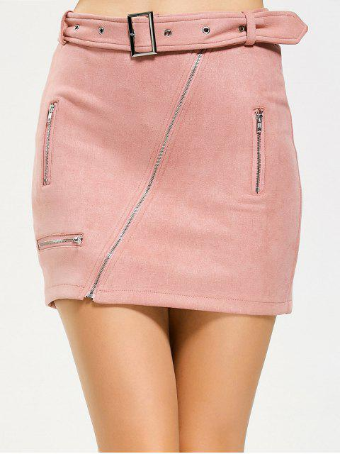 Zippered Belted Fuax Suede Mini Skirt - ROSE PÂLE M Mobile