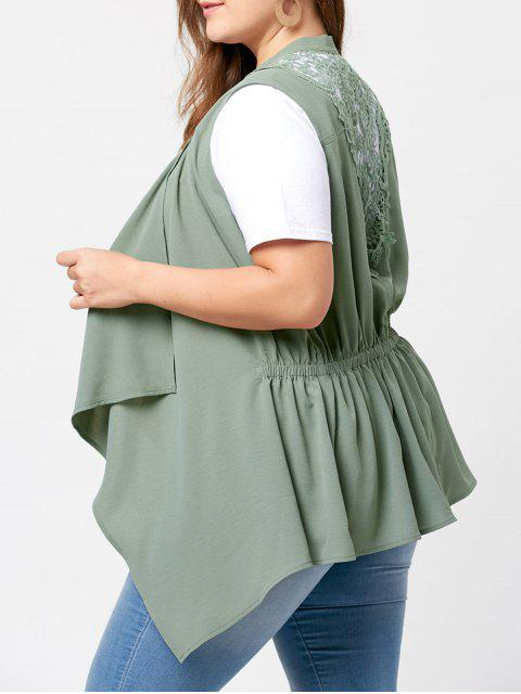 women's Plus Size Lace Insert Waterfall Wasitcoat - PEA GREEN XL Mobile