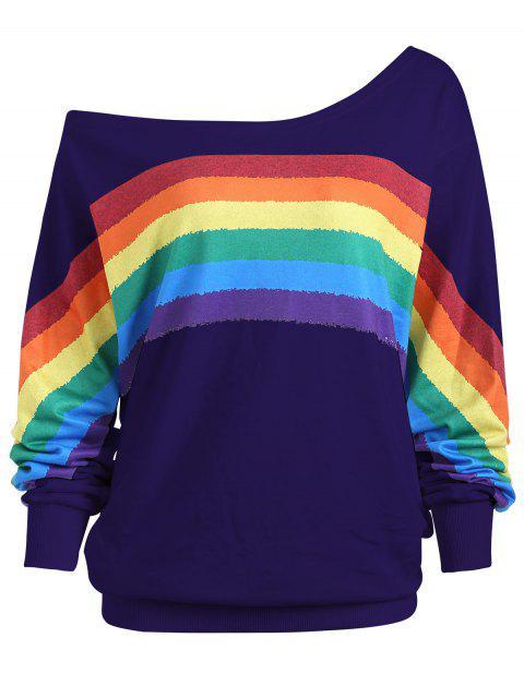 Arco iris Print Plus Size Un hombro superior - Púrpura 5XL Mobile