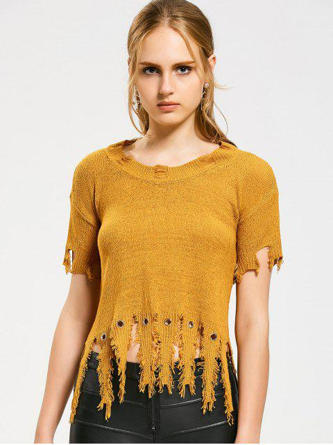 shop Short Sleeve Ripped Tassels Sweater - YELLOW ONE SIZE Mobile