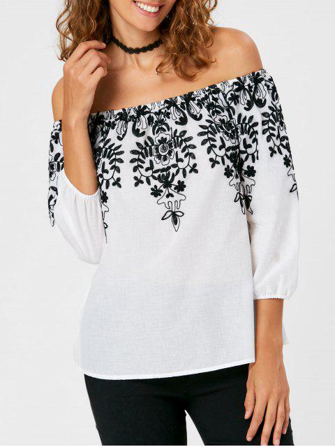 fashion Monochrome Embroidery Off The Shoulder Blouse - WHITE 2XL Mobile