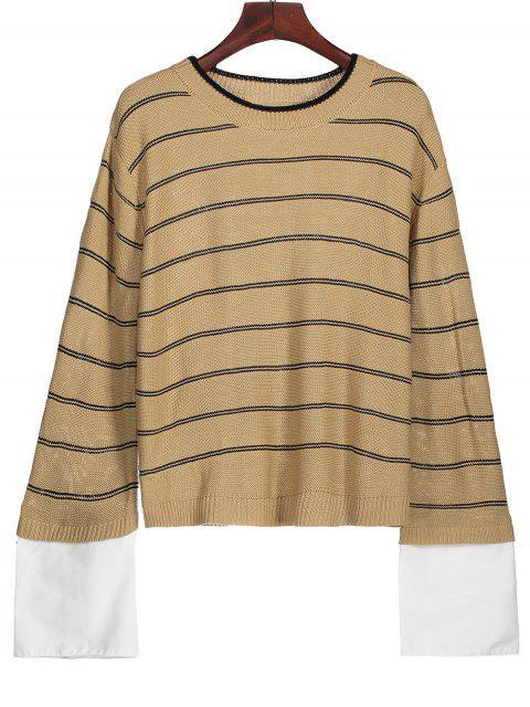 Gestreifter Pullover mit Hemd Ärmel - Helles Khaki M Mobile