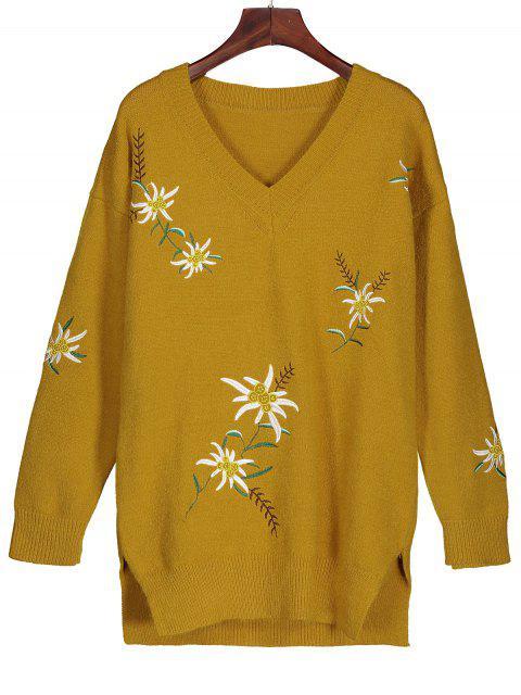 Suéter de punto con túnica bordada - Amarillo profundo L Mobile
