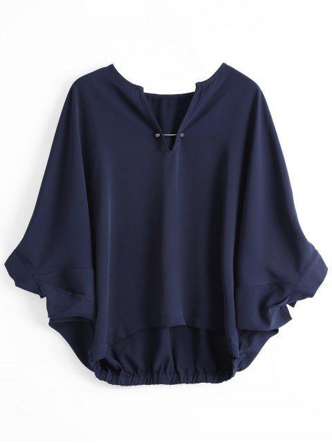 women's Loose Metal Rings Batwing Sleeve Blouse - PURPLISH BLUE S Mobile