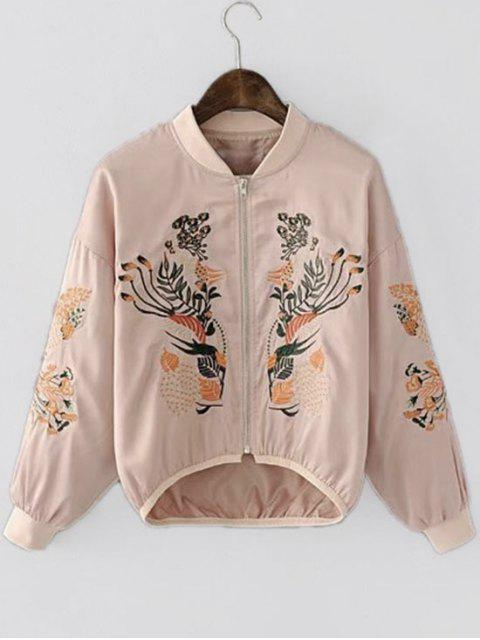 fashion Asymmetric Embroidered Bomber Jacket - PINK S Mobile