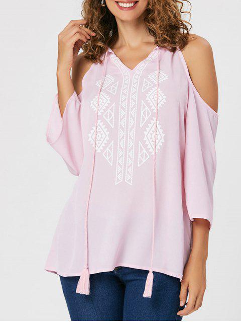 latest Tassel Ethnic Print Cold Shoulder Blouse - PINK XL Mobile