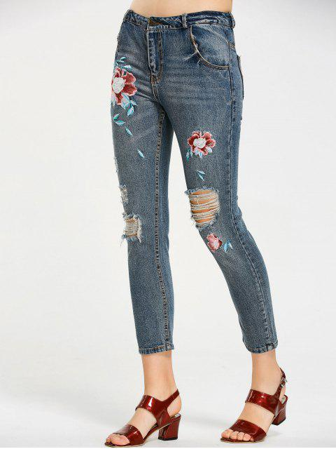 women Floral Embroidered Destroyed Ninth Jeans - DENIM BLUE L Mobile