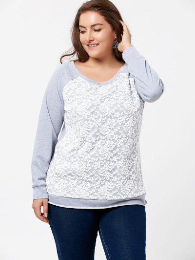 bb9a9680ec0 ... Plus Size Lace Panel Raglan Sleeve Pullover Sweatshirt - Gray Xl