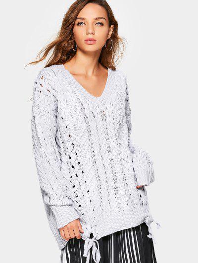 Lace Up Chunky Knit Tunic Sweater - Grey White