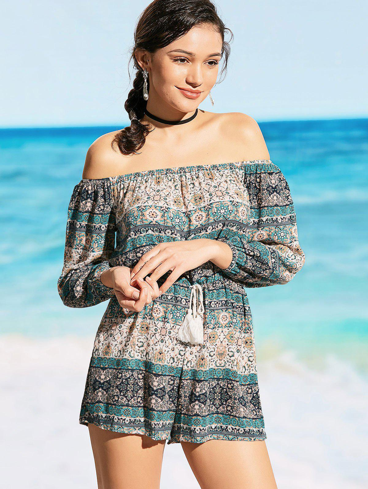 Drawstring Off Shoulder Printed Beach Romper 225217302