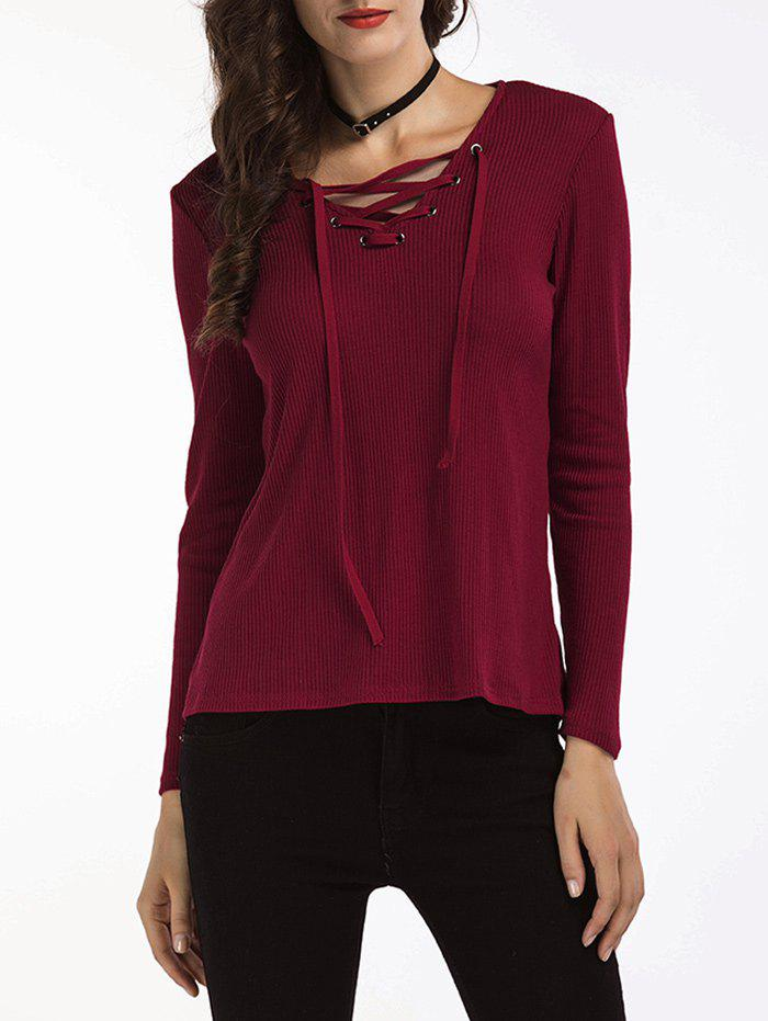 Lace Up Ribbed Sweater 225055901