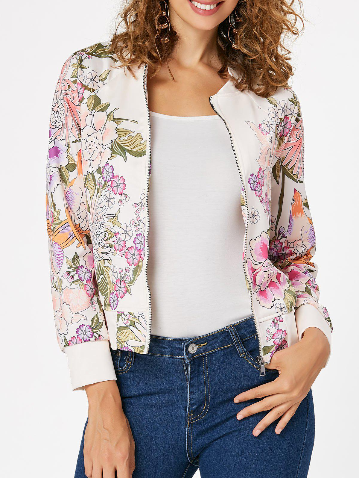 Zip Up Printed Long Sleeve Jacket 224416609