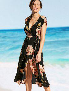تغرق الرقبة الزهور التفاف فستان الشاطئ - أسود Xl